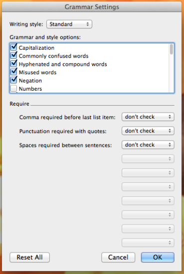 Mac Grammar Settings